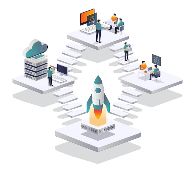 Discussione team di sviluppo web e server cloud