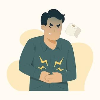Illustrazione di mal di stomaco di concetto di malattia