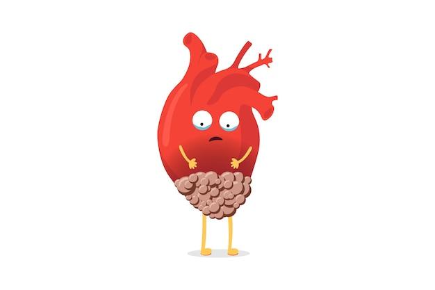 Malattia malsana personaggio di cuore dei cartoni animati con tumore del cancro su sfondo bianco malato umano sofferente