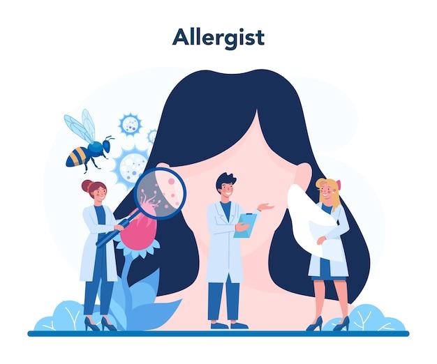 Malattia con illustrazione dei sintomi di allergia in stile piano