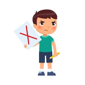 Il ragazzino scontento ha disegnato una croce rossa sulla carta come simbolo di rifiuto - concep di voto.