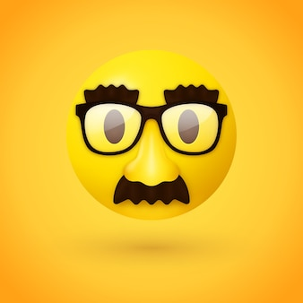 Emoji faccia mascherata Vettore Premium