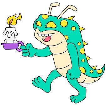 I mostri disgustosi dell'insetto del bruco camminano portando candele accese per l'illuminazione, arte dell'illustrazione di vettore. scarabocchiare icona immagine kawaii.