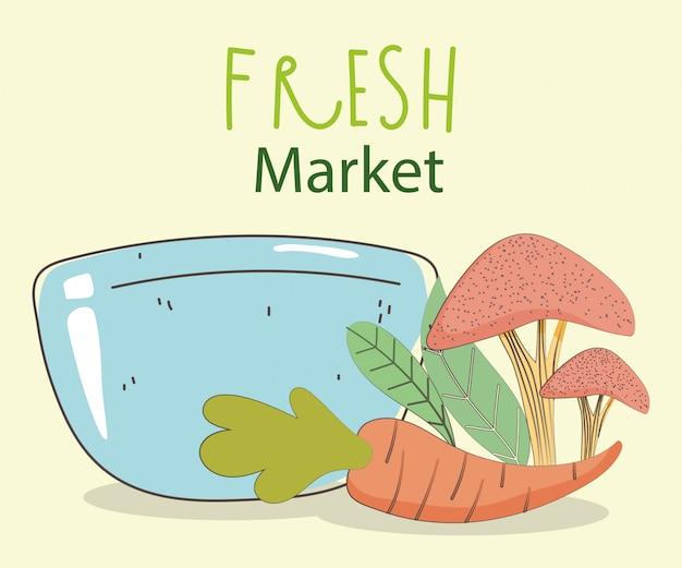 Alimento sano organico del mercato di prodotti freschi della carota e del fungo della ciotola del piatto con la frutta e le verdure