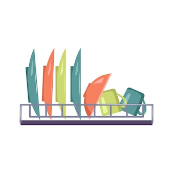 Asciugapiatti con piatti ciotola e tazza utensili da cucina articoli per cucinare e mangiare