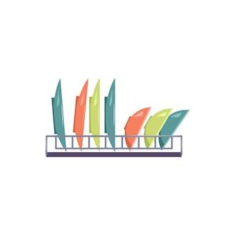 Asciugapiatti con piatti e ciotole. utensili da cucina, articoli per cucinare e mangiare