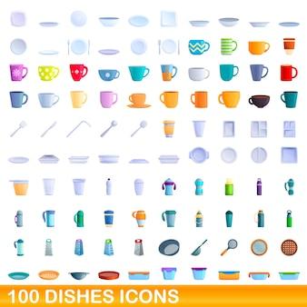 Set di icone di piatti. illustrazione del fumetto delle icone dei piatti messe su fondo bianco