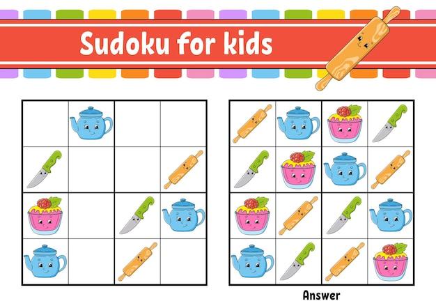 Sudoku a tema stoviglie per bambini