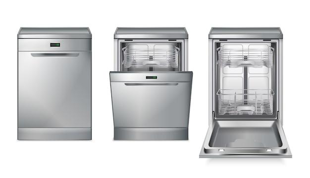 Set realistico grigio per lavastoviglie con tre immagini isolate con diverse viste della lavastoviglie