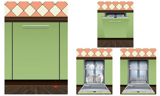 Set di icone macchina lavastoviglie. insieme realistico delle icone di vettore della macchina della lavastoviglie isolato