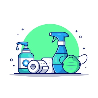 Disinfettante, rotolo di carta igienica e mascherina medica. icona illustrazione.