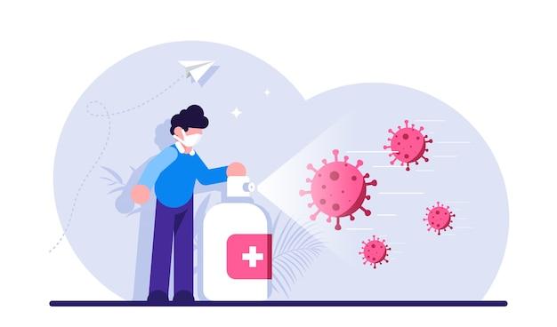 Disinfezione che combatte il coronavirus o la diffusione di malattie infettive uomo che indossa una maschera utilizzando spray disinfettante o disinfettante contro l'infezione virale covid