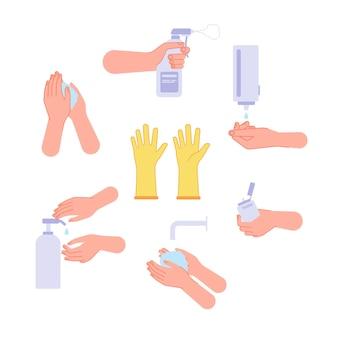 Disinfezione. fasi di lavaggio a mano, asciugatura delle mani e igiene. gel detergente spray igienizzante e bottiglia igienizzante. insieme di vettore di protezione antivirus. l'illustrazione evita l'infezione, i sanitari antibatterici