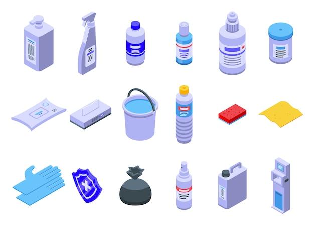 Set di icone di disinfezione, stile isometrico