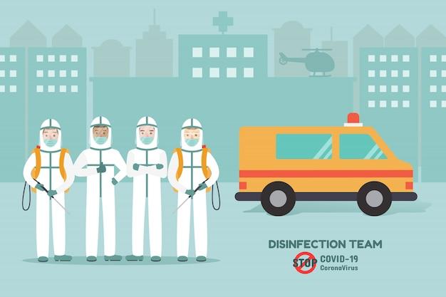 Squadra di disinfezione, personale medico che previene la pandemia del virus corona e la diffusione di covid-19. consapevolezza della malattia di coronavirus.