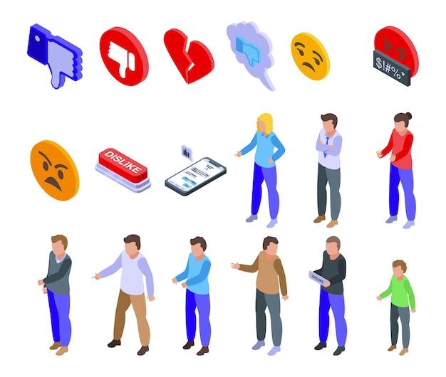 Icone di antipatia impostate. set isometrico di icone di antipatia per il web design isolato su sfondo bianco