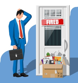 Licenziare dipendente, porta con targa scritta a fuoco e scatola di cartone con articoli per ufficio. assunzione e reclutamento. concetto di gestione delle risorse umane alla ricerca di personale professionale. illustrazione vettoriale piatta