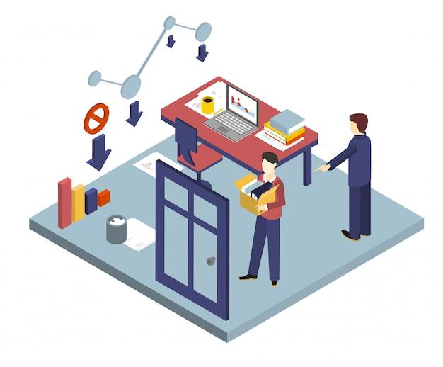 Licenziamento di un lavoratore. illustrazioni 3d isometriche