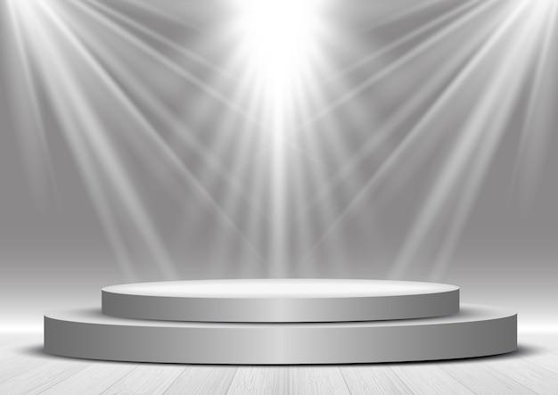 Visualizza lo sfondo con un podio sotto i riflettori Vettore Premium