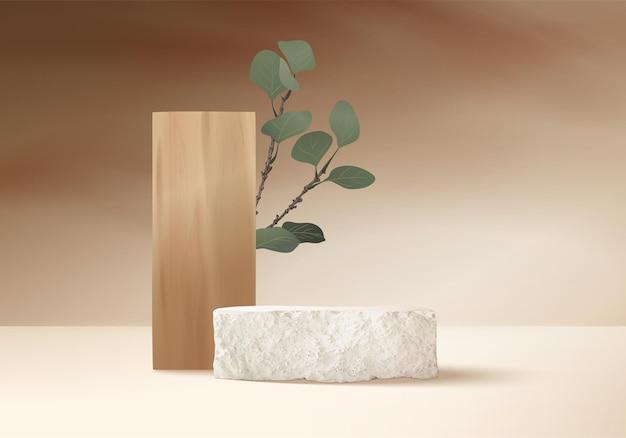 Mostra la scena del podio in pietra con una piattaforma geometrica in foglia di palma