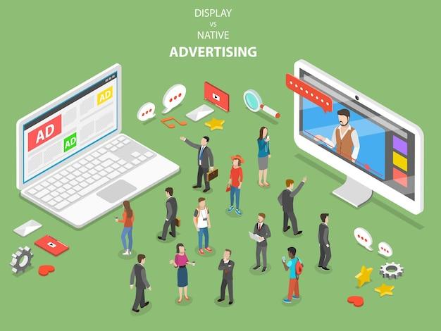 Display vs pubblicità nativa isometrica piatta