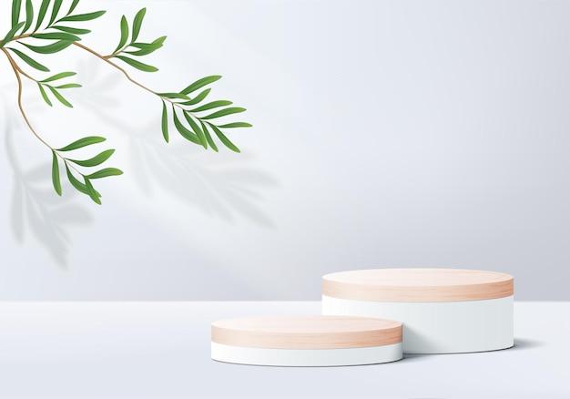 Display podio in legno con piattaforma geometrica foglia