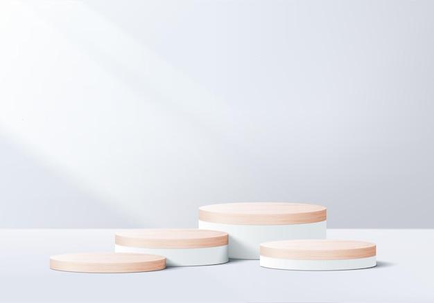 Display podio in legno con piattaforma geometrica foglia Vettore Premium