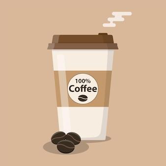 Icona della tazza di caffè usa e getta con chicchi di caffè. illustrazione vettoriale in stile piatto