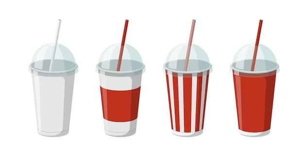 Set di modelli di bicchieri per bevande in carta usa e getta per soda o cocktail con coperchio a semisfera trasparente d