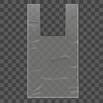 Pacchetto sacchetto di plastica usa e getta con manici su sfondo trasparente