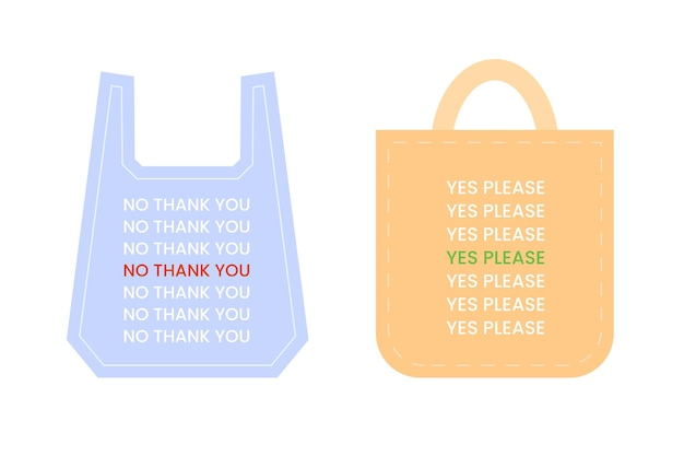 Sacchetti di plastica usa e getta e immagini di sacchetti della spesa in tessuto no grazie e sì, per favore testo