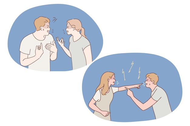 Controversia, conflitto, stress, litigio, abuso, concetto di incomprensione. giovane coppia scontenta che ha conflitti durante la conversazione, litigare e litigare con gesti aggressivi tra loro