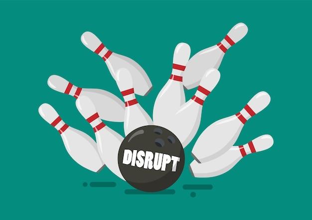 Interrompere la palla da bowling rompe i birilli
