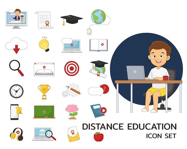 Insieme e illustrazione di elementi di istruzione a distanza