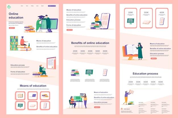 Contenuto centrale e piè di pagina della pagina di destinazione del modello di sito web piatto di formazione a distanza