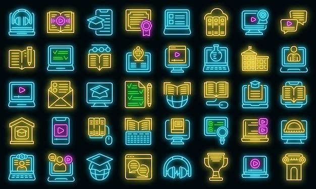 Icone di formazione a distanza impostate vettore neon