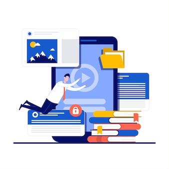 Formazione a distanza, concetti di inglese di apprendimento online con carattere.