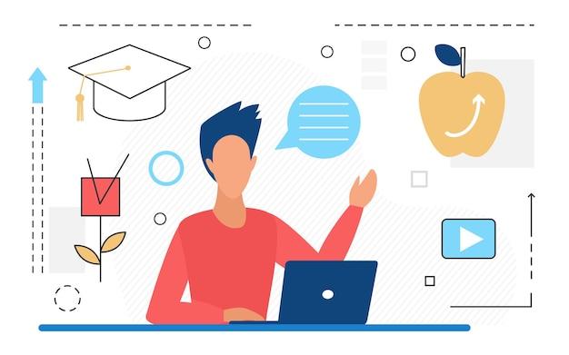 Tecnologia di formazione a distanza uomo studente laureato che studia online seduto con un laptop Vettore Premium
