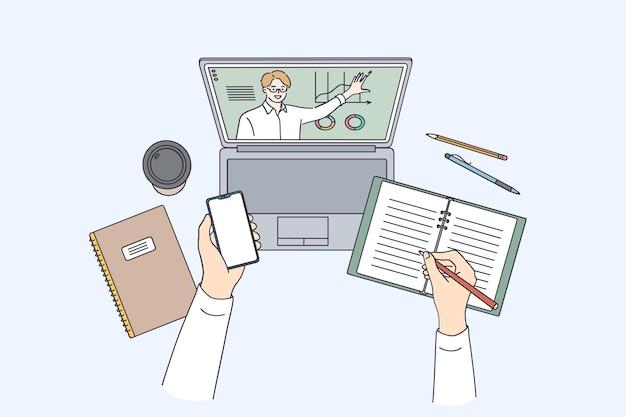 Concetto di formazione a distanza e e-learning Vettore Premium