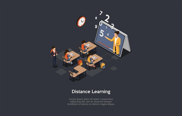 Illustrazione di concetto di apprendimento a distanza nello stile del fumetto 3d.
