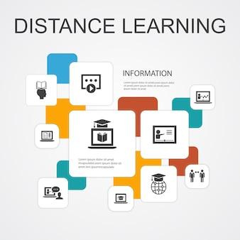 Modello di icone di 10 linee di infografica per l'apprendimento a distanza. istruzione online, webinar, processo di apprendimento, icone semplici del corso video