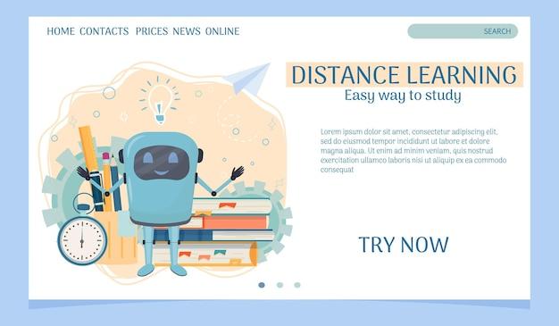 Modello web di pagina di destinazione per l'apprendimento a distanza con cronometro per libri e assistente robot
