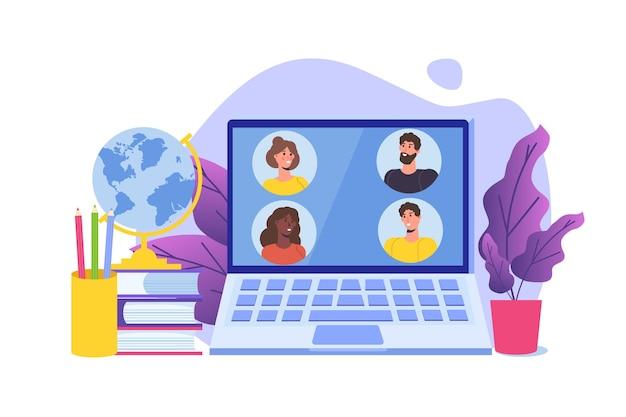 Concetti di tutorial video di formazione online di apprendimento a distanza illustrazione vettoriale