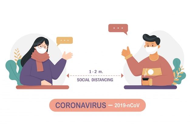 La distanza tra le persone per prevenire il virus covid-19.