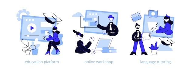 Insieme dell'illustrazione di concetto astratto di apprendimento web a distanza.