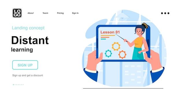 Concetto di design piatto di apprendimento a distanza