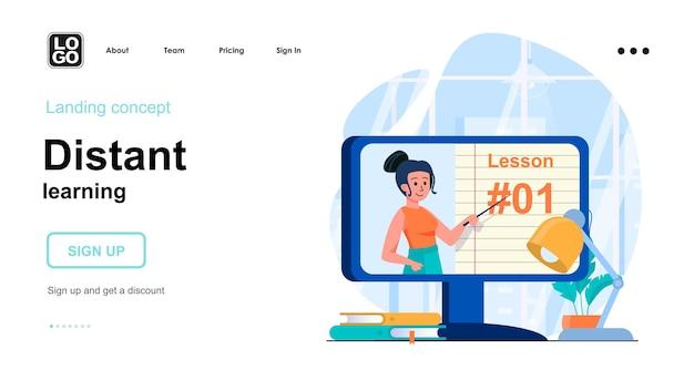 Modello di pagina di destinazione di apprendimento a distanza con carattere di persone