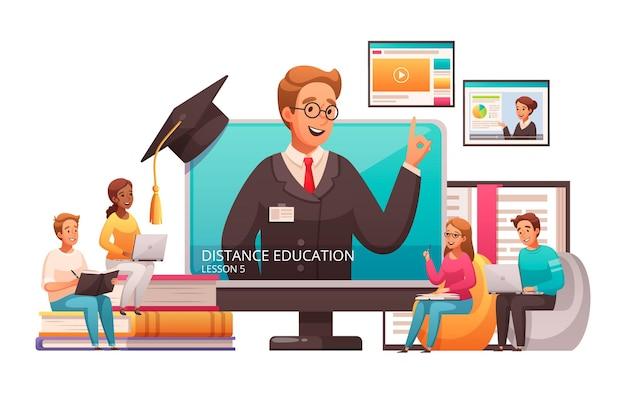 Lezioni di educazione online di apprendimento a distanza che pubblicizzano la composizione di cartoni animati con il cappuccio di laurea del tutor che salta fuori dallo schermo