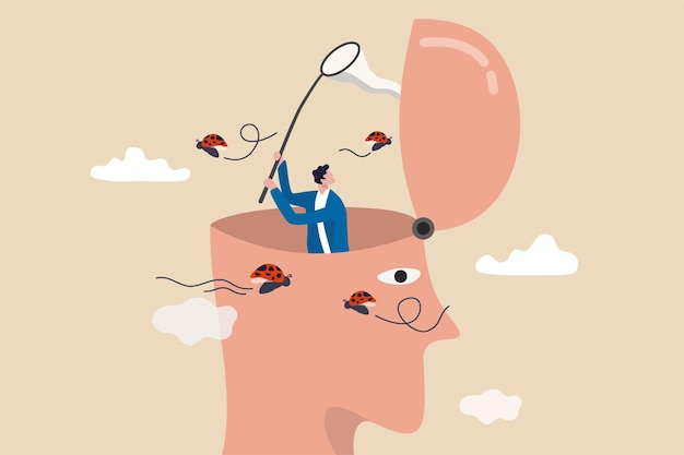 Distrazione, disturbo e incapacità di concentrarsi sul lavoro, concetto di stile di vita improduttivo, testa umana con se stesso che perde la concentrazione e distratto da insetti che volano in giro.