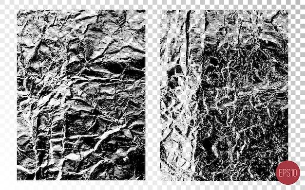 Trame sovrapposte dettagliate afflitte di superfici ruvide, fogli accartocciati, crepe e pieghe. sfondi grunge. risorse grafiche a un colore.